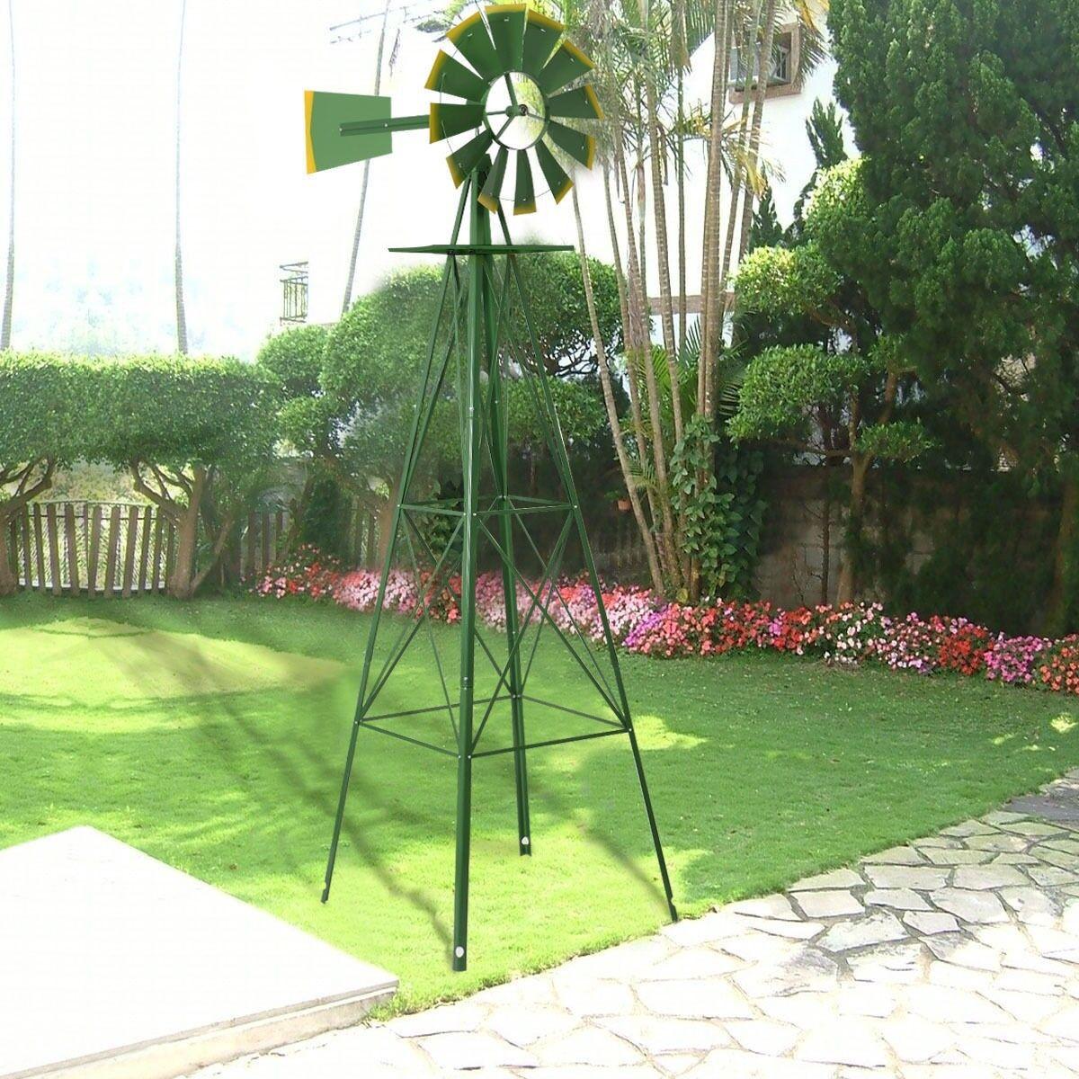 8' foot Grün Gelb Ornamental Garden Wind Windmill Wheel Steel Blades Novelty