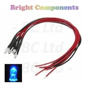 20-x-Pre-Wired-Blue-LED-3mm-Ultra-Bright-9V-12V-1st-CLASS-POST