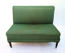 Antique English Library Settee Love Seat 8-Way Hand Tied Springs Metal Casters