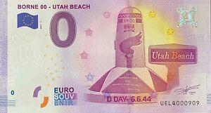 BILLET-0-EURO-BORNE-00-UTAH-BEACH-FRANCE-2017-N-PALINDROME-909