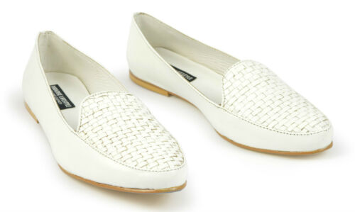 Womens Ladies White Woven Leather Pumps Shoes Ballerina Loafers Toe Heels Size