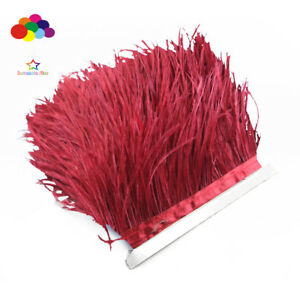 Hot-1-5-10-meters-wine-red-Ostrich-Feathers-8-15cm-3-6-inch-Fringe-Ribbon-Trim