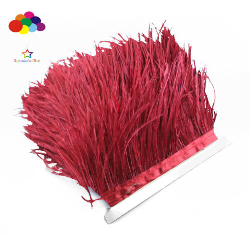 Newest 1//5//10 meter wine red Ostrich Feathers 8-15cm//3-6 inch Fringe Ribbon Trim