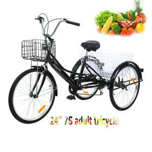Ridgeyard-24-039-039-3-ruedas-Adulto-Triciclo-de-crucero-bicicleta-de-7-velocidades