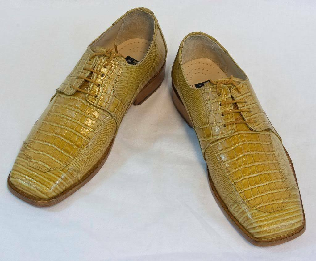 New Fortune Mustard Croco Lizard Dress Shoes by Liberty Pelle, L-612