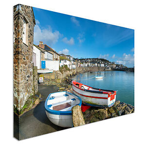The-harbour-at-Mousehole-in-Cornwall-Canvas-Art-Cheap-Wall-Print-Any-Size