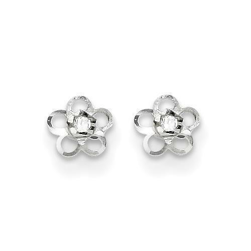 Madi K 14k White gold Polished Flower with CZ Post Stud Earrings