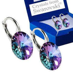 925-Sterling-Silver-Earrings-VL-Vitrail-Light-Genuine-Crystals-from-Swarovski