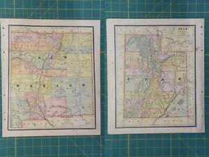 New mexico utah vintage original 1886 crams world atlas map lot image is loading new mexico utah vintage original 1886 cram 039 gumiabroncs Image collections