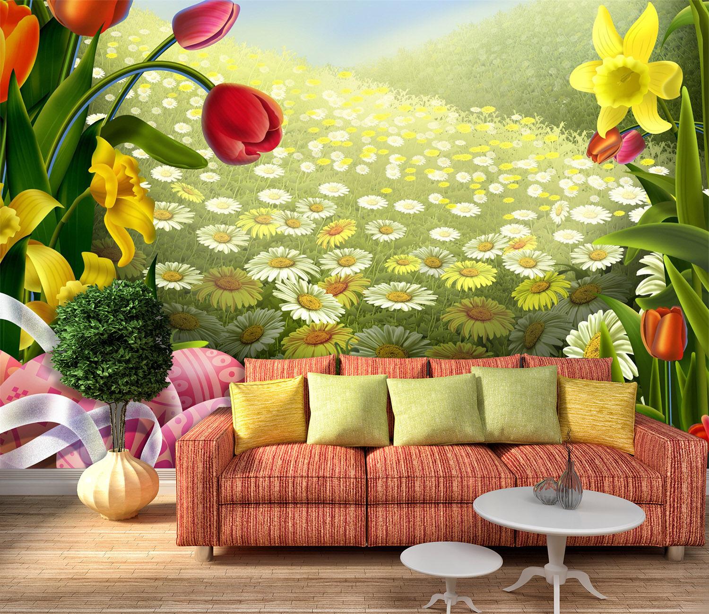 3D Hillside, flowers 467 Wall Paper Print Wall Decal Deco Indoor Wall Murals