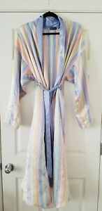 Image is loading Christian-Dior-Full-Length-Robe-Striped-blue-pink- 0eb9ec78d