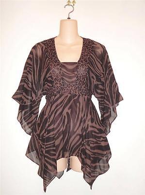 MICHAEL KORS Brown Black Leopard Zebra Silk Kimono Sleeve Top XS