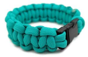 "Paracord Bracelet 550 Two-Tone Black//Teal Survival Tactical 3//8/"" Buckle"