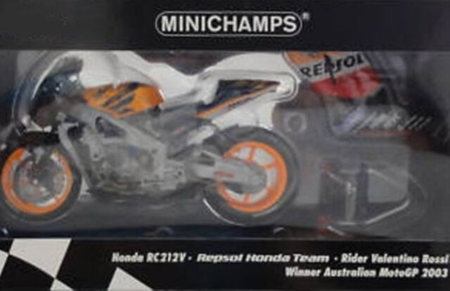 MINICHAMPS 123 037176 Honda RC211V model bike Rossi Australian MotoGP 2003 1:12