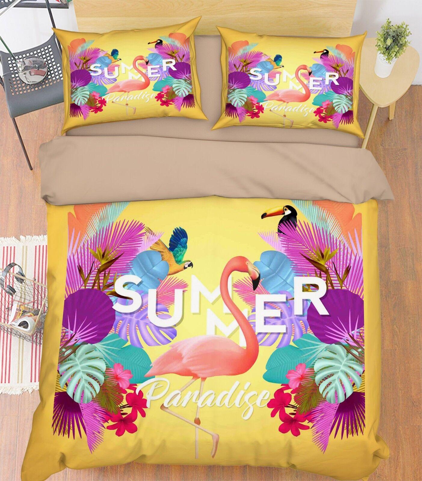 3D Various Birds Bed Pillowcases Quilt Duvet Cover Set Single Queen King Size AU