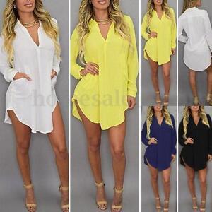 Sexy-Ladies-Long-Sleeve-V-Neck-Loose-Asymmetrical-Hem-Shirt-Dress-Tops-Blouse