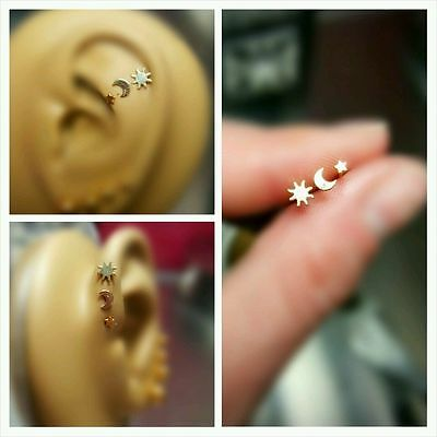 Triple Forward Cartilage Tragus Helix Stud Earring Jewelry Piercing Star Moon