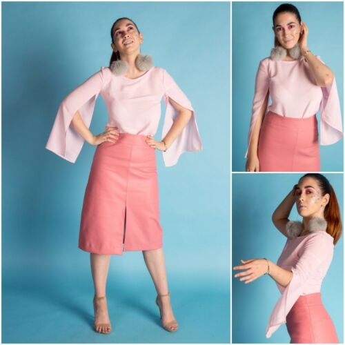 Pullover Ladies Womens Pink Sleeve Top Leather Skirt Style Long New With gIwYg