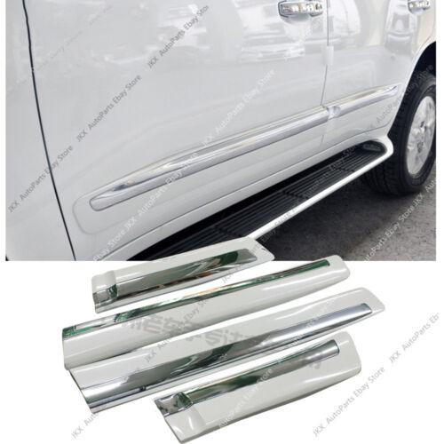 Pearl White Side Door Body Guard Molding Chrome Trim o For LEXUS LX570 2008-2015