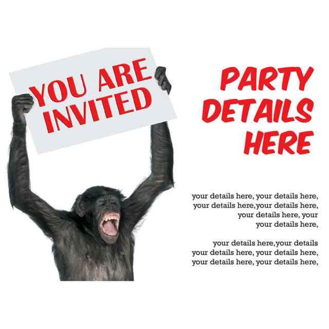 Personalised Birthday Party Invitations 18th, 21st, 40th, 50th - funny chimp
