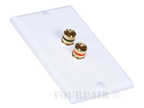 10 Pack Lot 1 Speaker 2 Binding Post Banana Jack Wall Plate Face Plate White