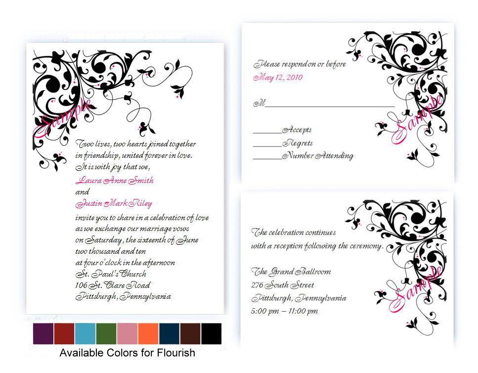 100 Personnalisé Flower Flourish Parchemin Mariage Invitations 9 Couleurs