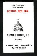 1988 Boston Red Sox Schedule--Morrill & Everett