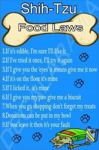 SHIH-TZU-FOOD-LAWS-Novelty-Laminated-Sign-Ideal-Gift-Present