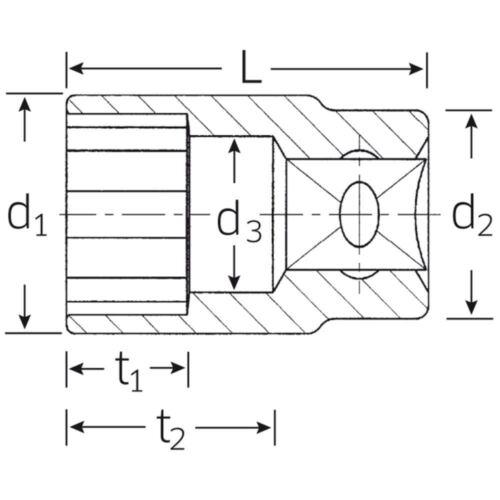 "STAHLWILLE Steckschlüssel Einsatz Ø 21 mm 1//2/"" Zoll  Doppelsechskant"
