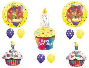 Image Is Loading Teddy Bear Cupcake 1st Birthday Party Balloons Decoration