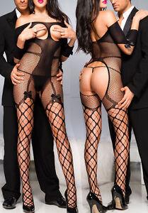 Woman-Fishnet-BODYSTOCKING-Sexy-Lingerie-Sheer-Underwear-Open-bra-Nightwear-New