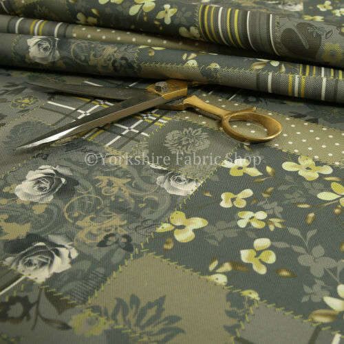Patchwork Design Upholstery Fabric Pattern In Grey Green Striped Floral Inspired
