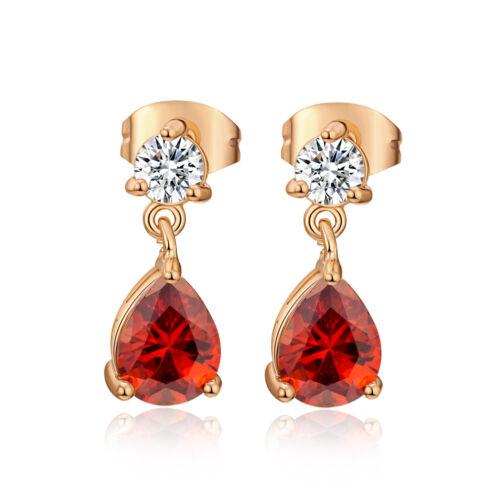 Red Teardrop Crystal Womens Dangle Small Ear Stud Earrings Yellow Gold Plated