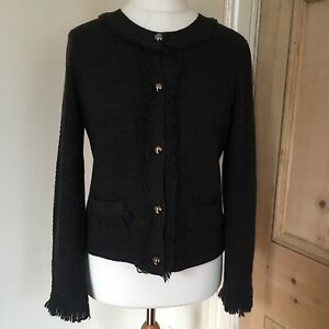 Ladies-Tweeds-Cardigan-Dark-Grey-Fringing-Jacket-Style-Size-Large-14-uk-smart