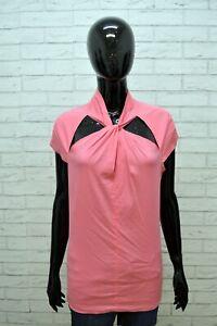 GUESS-MARCIANO-Blusa-Maglia-Donna-Manica-Corta-Taglia-L-Maglietta-Rosa-Shirt