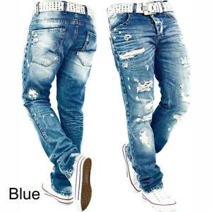 Men-039-s-Stylish-Ripped-Jeans-Denim-Trousers-Straight-Distress-Frayed-Biker-Pants