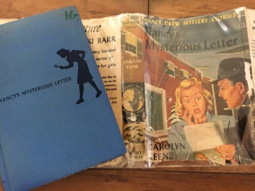 """NANCY'S MYSTERIOUS LETTER"" NANCY DREW #8 BSEP SOLID BLUE HOLE IN SPINE"