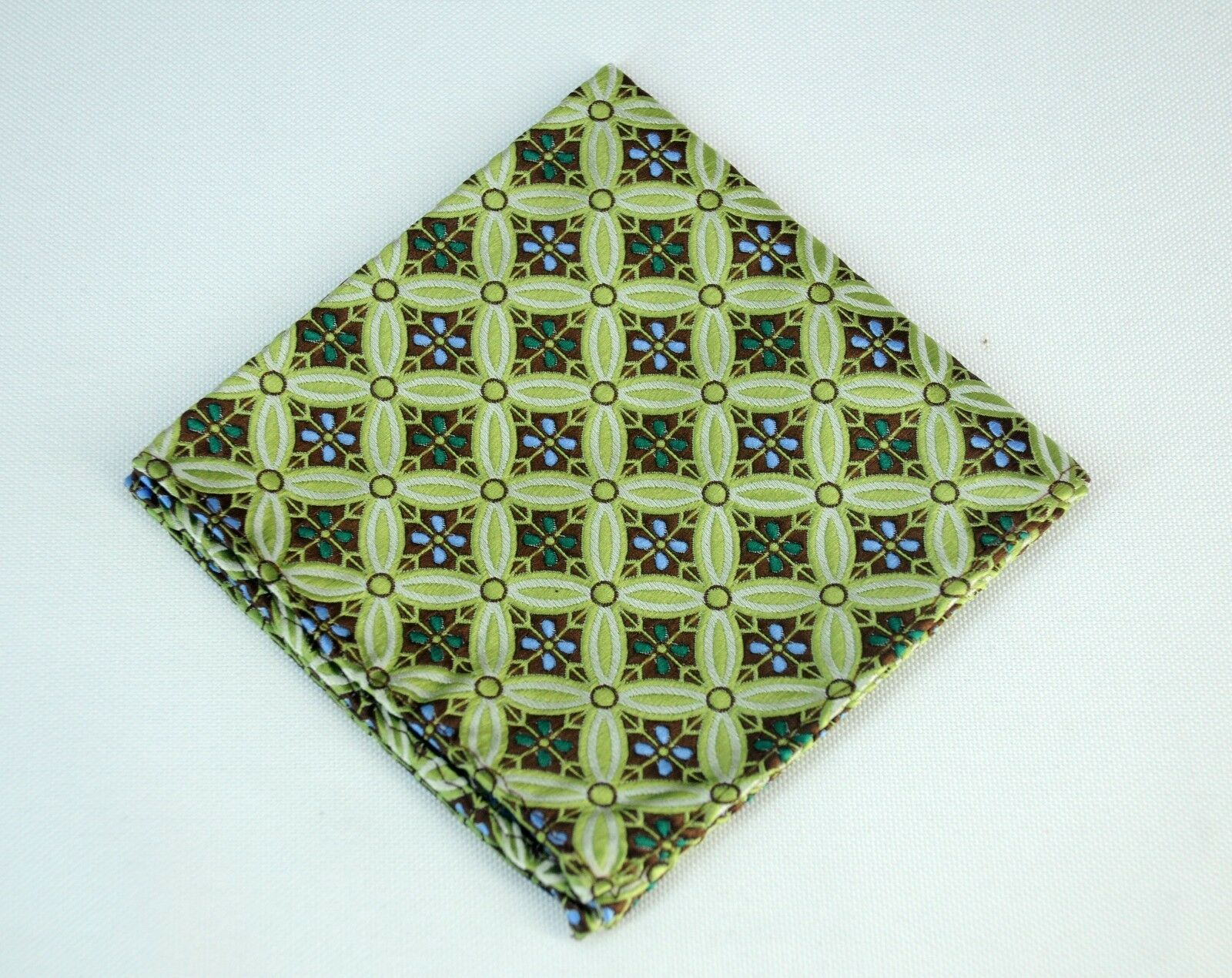 Lord R Colton Masterworks Pocket Square Salvador Emerald Blue Silk - New