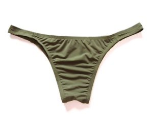 Men/'s One Size Khaki Green Ice Silk Nylon 1//4 Back Briefs Thong Lingerie Gay UK