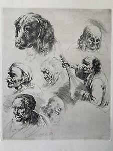 Jean jacques de Boissieu eau forte etching engraving study portrait man dog