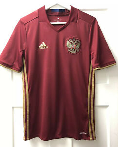 Details about Adidas Youth Russia Home Soccer Jersey Maroon Gold Size 15-16Y