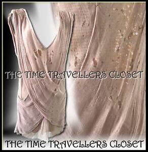 BNWOT-Topshop-Dusky-Pink-Distressed-Sheer-Chiffon-Over-Sequin-Mini-Dress-UK14-16