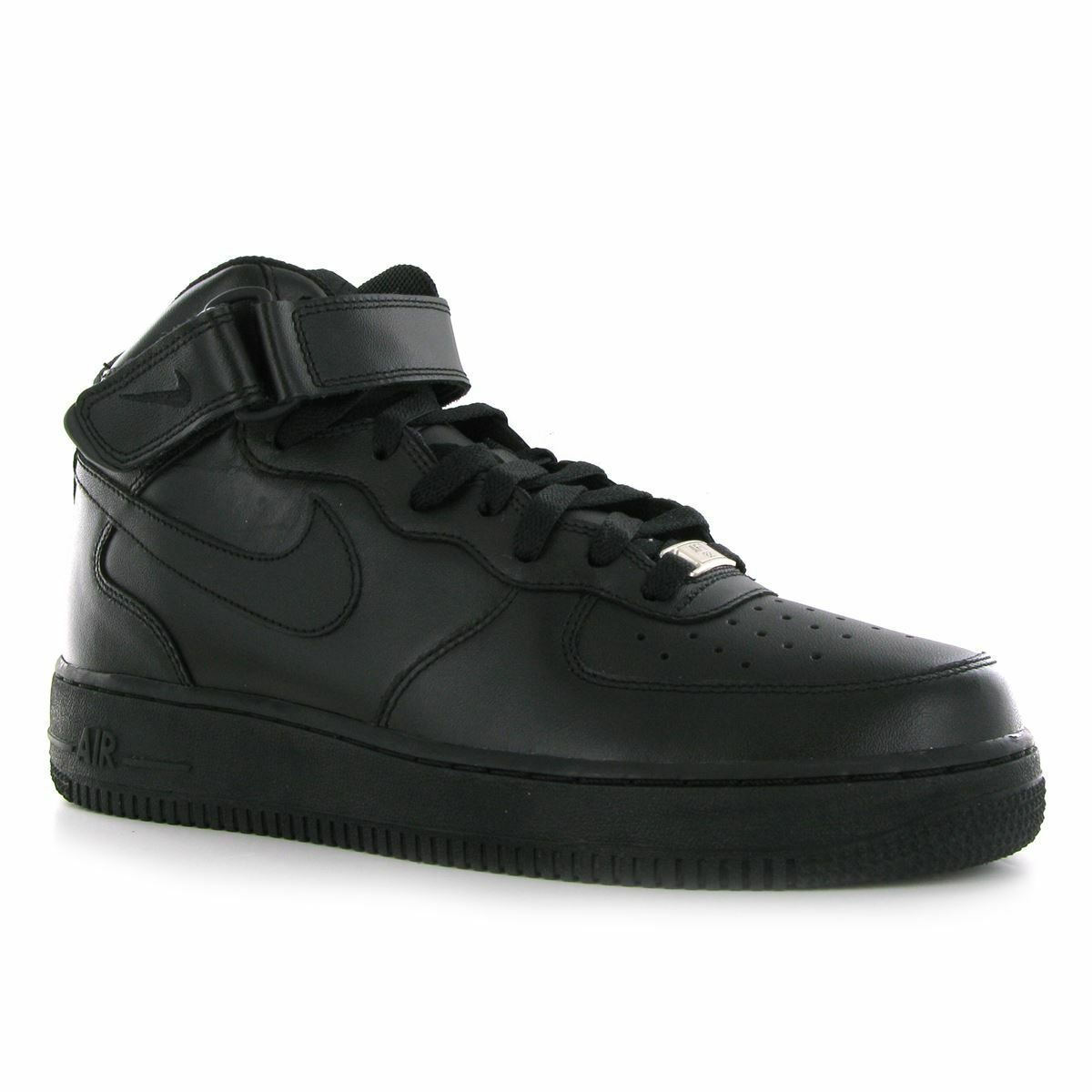 Nike Air Force 1 Mid 07 Black Leather Mens Trainers Sneakers