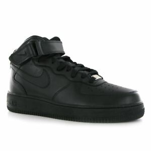 hot sale online 99773 300cf Image is loading Nike-Air-Force-1-Mid-07-Black-Leather-