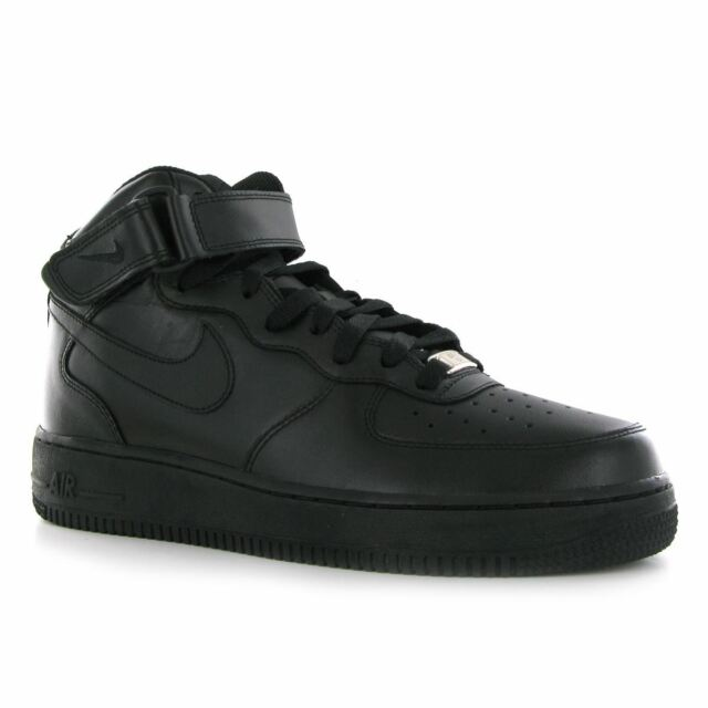 newest 75a9c c9536 Nike Air Force 1 Mid 07 All Black Af1 Mens Lifestyle Casual SNEAKERS 10.5