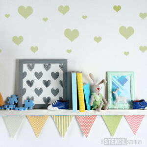 Simple Hearts Wall STENCIL Valentines Day Girls Bedroom The Stencil ...