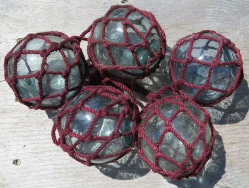 """Details about  /JAPANESE GLASS  Fishing FLOATS Lot-5 3-3.5/"""" Maroon Net Long String AUTHENTIC!"""