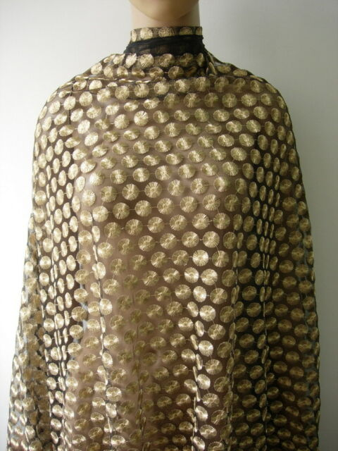 """LE22 52"""" Gold Dots Embroidered Metallic Trims Tulle Fabric Sewing/Designer 1yard"""