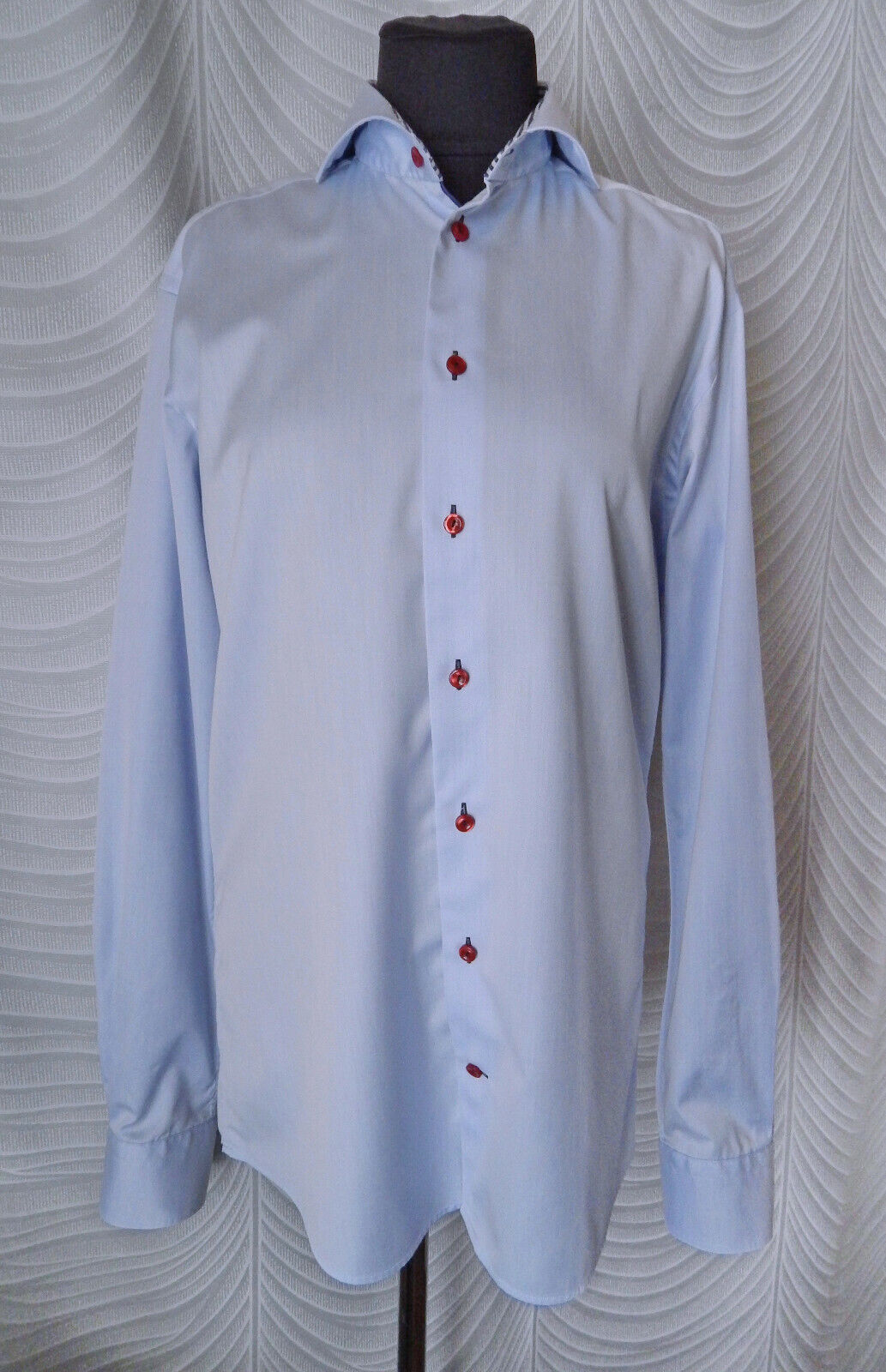 Eton Slim bluee Shirt Size 41 16 Contrast Red  Buttons