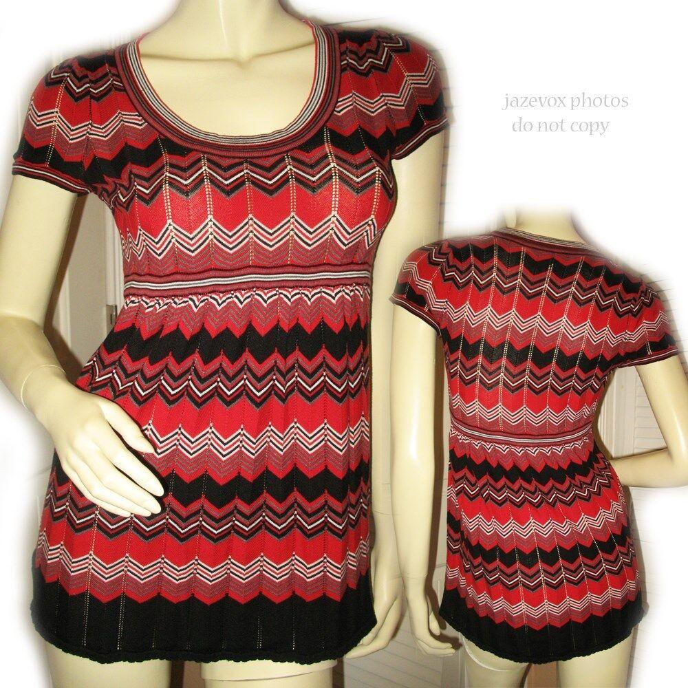 INC INTERNATIONAL CONCEPTS damen Silk Sweater Top S rot schwarz Chevron Pattern